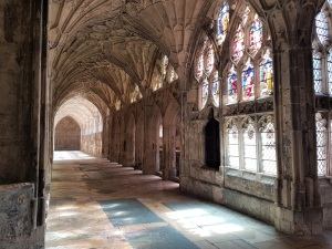 Inside the cloisters at Gloucester Cathedral